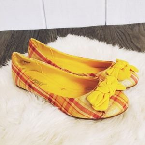 NWT yellow, flats, ballet, plaid, bow, tartan,